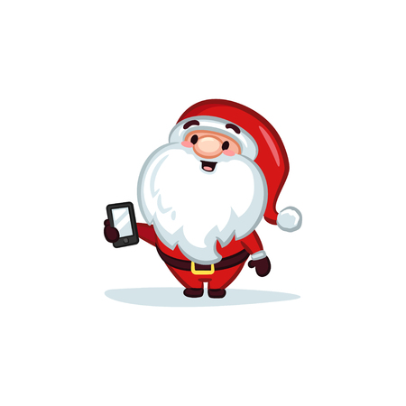 Christmas Vectors - Santa Claus Holding a Mobile Phone
