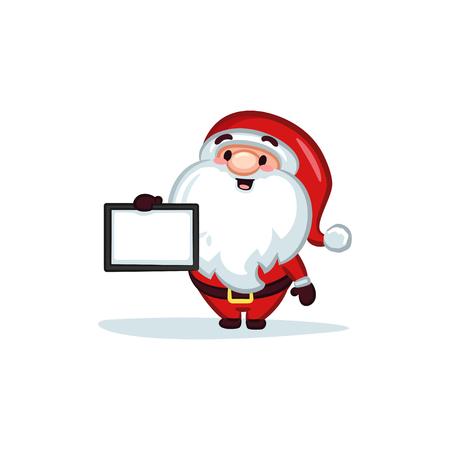 Christmas Vectors - Santa Claus Holding a Sign 矢量图像