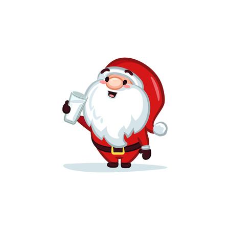 Santa Claus Drinking Milk vector illustration 矢量图像