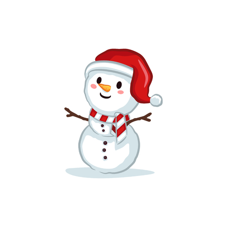 Christmas Vectors - Snowman Wearing Santa Hat 矢量图像