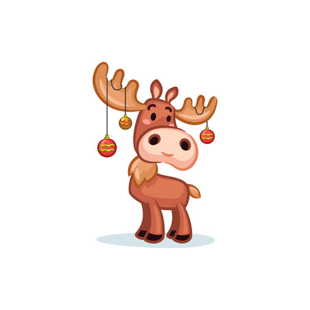 Christmas Vectors - Moose Wearing Ornaments