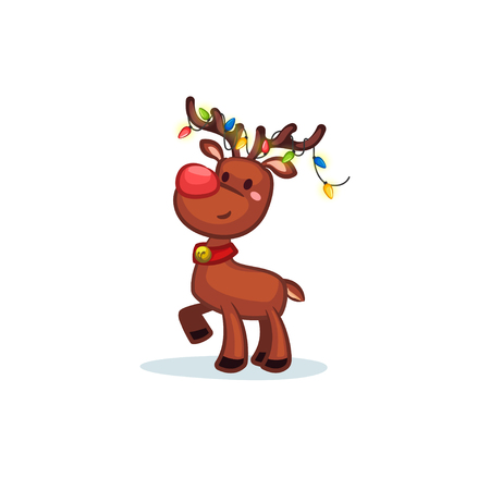 Christmas Vectors - Reindeer Wearing Lights