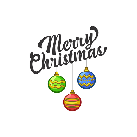 Christmas Vectors - Greeting with Hanging Ornaments 免版税图像 - 91954133