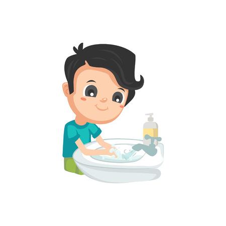 Buenos hábitos: lavarse las manos Ilustración de vector