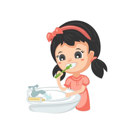 Buenos hábitos: cepillarse los dientes Ilustración de vector