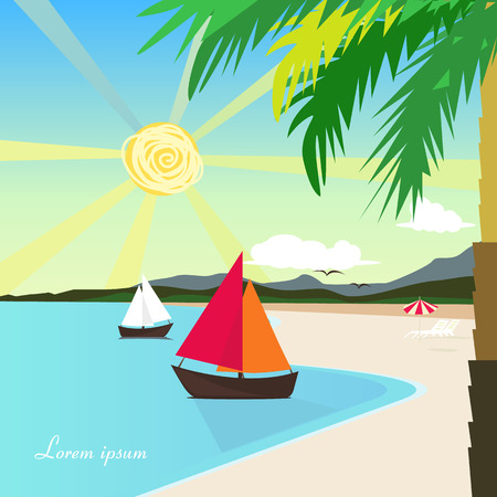 sunny beach: Sunny beach with palm tree and ship Illustration