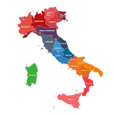 colore: Regions map of Italy. Mappa delle regioni Italia colore Illustration