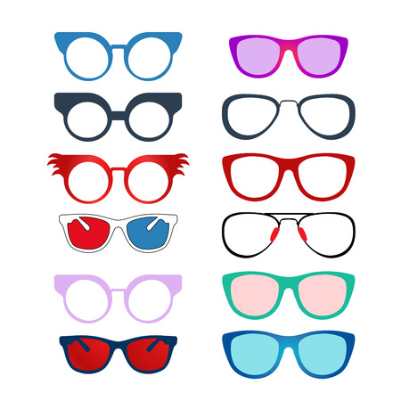 ocular: Multiple styles Color Eyeglasses Illustration