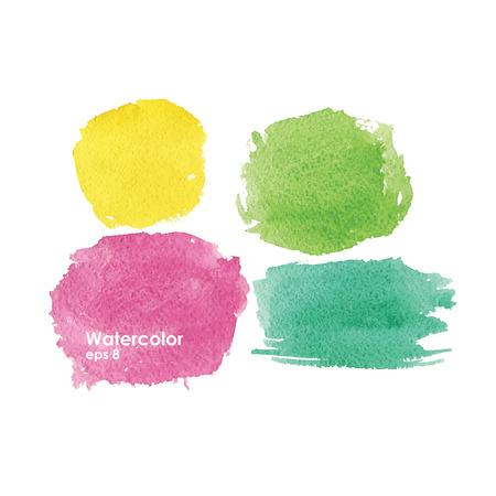 watercolor splash: Watercolor splash pink yellow green Illustration
