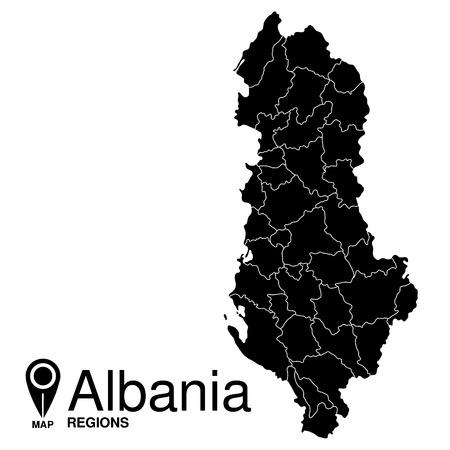 albanie: R�gions carte de l'Albanie. Albanie