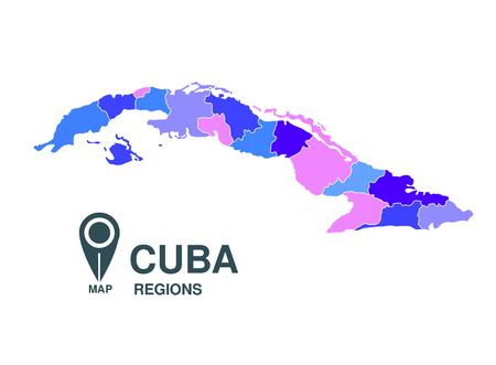 regions: Cuba map regions Illustration