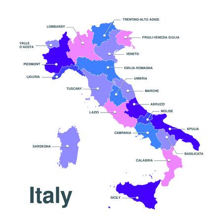 italia: Map of Italy. Mappa delle regioni Italia