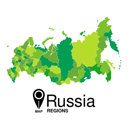 regions: Green map of Russia regions