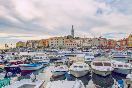 Pula, Crotia, 2016, Street view. Old city and boats. Its a travel photo, when I walk around city.