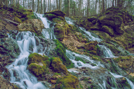Kazu grava, Cesis Latvia 2015, Nature, waterfall, trees and beautiful view. Stock Photo