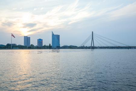 Latvia, Riga, old town center, bridge and architecture. 2017 에디토리얼