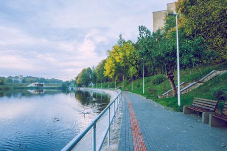 Jugla lake in Riga, autumn, yellow tree leaves. 2017 Stock Photo