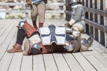 Place: Cesis, date: 09.06.2014, Medieval festival at Livonian castle. This is medieval festival in Latvia. Meany peoples come to this festival and fight. Its popular and interesting measure., Medieval festival at Livonian castle. This is medieval festiva Editorial