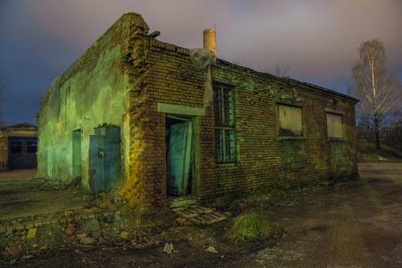Old car factory at Latvia, city Cesis. 2015 Night scene, travel photo.