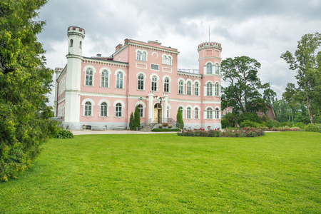 Old red castle in Lavia, Birini 2015. Urban historical house.