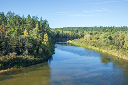 Red cliffs in Latvia, Erglu cliffs, city Cesis. Nature and river. TRavel photo. 2015