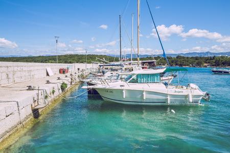 Adriatic sea, Pula, Croatia, boathouse, boats and nature, blue water. Travel photo 07.05.2016. Editorial