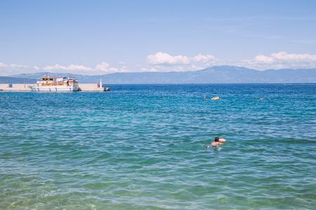 Pula, Crotia, adriatic sea, beach,sea and unny day. Travel photo. 07.05.2016