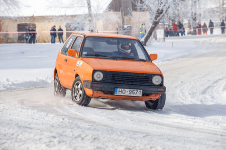 Cesis, Latvia, Frozzen way and Golf. Ice and cold, power and speed. Travel photo 2018.