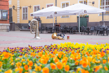 Latvia, Riga, old town center, musical instruments and garden. Streets and park. 2018 Stock Photo
