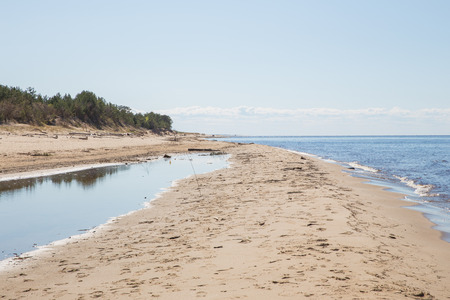 Latvia, city Carnikava, Baltic sea at spring, nature, peoples and wave. 2018 Stock Photo
