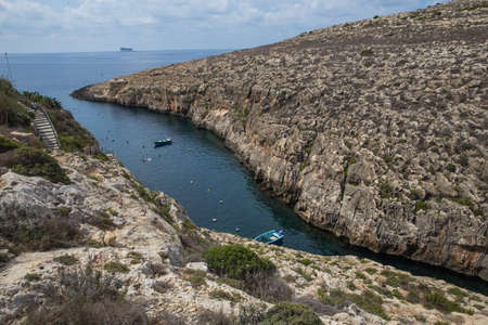 City Gozo, Malta, Europe. Ocean, blue water and peoples. Rock and nature. 免版税图像