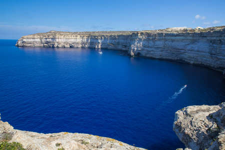 City Gozo, Malta, Europe. Ocean, blue water and peoples. Rock and nature