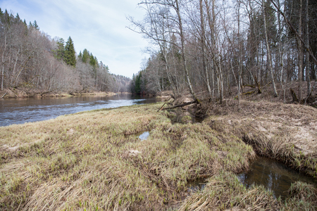 City Cesis, Latvia. Water and waves, river Gauja. Nature and sun in spring. 2019.20.04