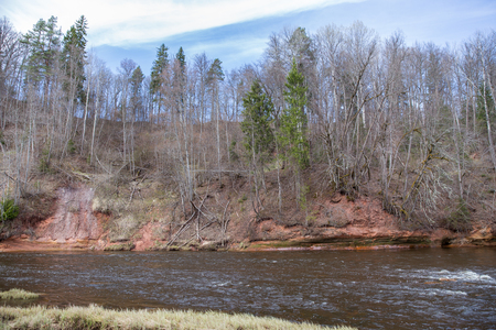City Cesis, Latvia. Red rocks and river Gauja. Nature and sun in spring. 2019.20.04