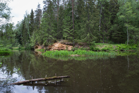 City Straupe, Latvian Republic. Red rocks and river Brasla. Green and overgrown forest. Jun 1. 2019 Travel photo.
