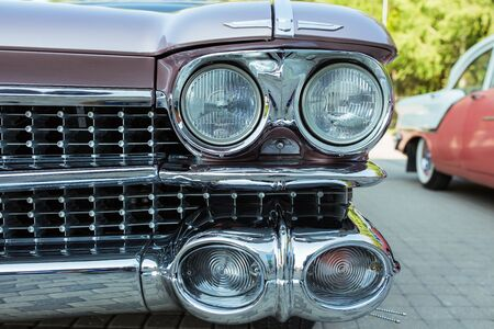 City Riga, Latvian republic. Retro car party. Oldtimer cars at the motor museum. Urban city view. 17 August 2019.