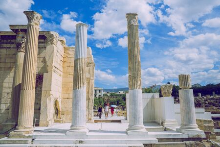 City Athens, Greek Republic. Historic building ruins. Tourists and city streets.11. Sep. 2019