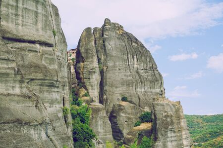 City Meteora, Greek Republic. Mountains and places of worship, church and shrines. 12. Sep. 2019. Travel photo.