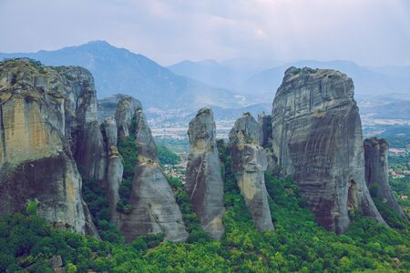 City Meteora, Greek Republic. Big mountains and places of worship and shrines. 12. Sep. 2019. Travel photo.