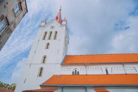 City Cesis, Latvia Republic. Old church and rocks, autumn. Historic architecture. 12. okt.