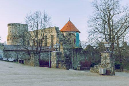 City Cesis, Latvia Republic. 13th century castle with park in winter. 11.01.2020 Editorial