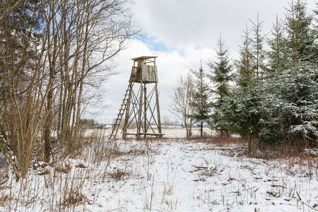 City Sigulda, Latvia. Animal observation tower and wood in winter.Travel photo.29.02.2020