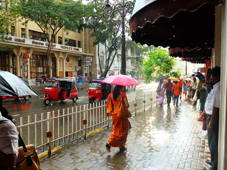 kandy: Street in the rain at Kandy Editorial