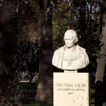 discoverer: Christobal Colon bust, santiago de chile Stock Photo
