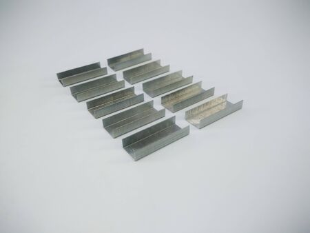 Silver staples clip office stationary equipment isolated on a white background