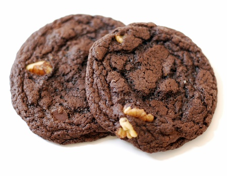 biscuits: Two chocolate chip and nuts cookies Stock Photo