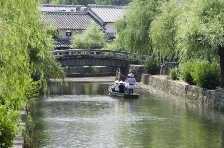okayama: Gondola ride in Kurashiki, histric town in Okayama, Japan