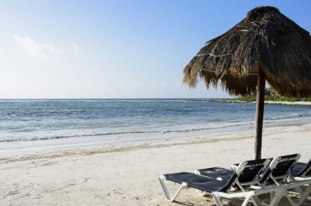 palapa: White sandy beach with Palapa Stock Photo
