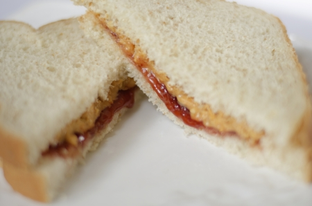 Peanut Butter and Jelly Sandwich on a white plate photo