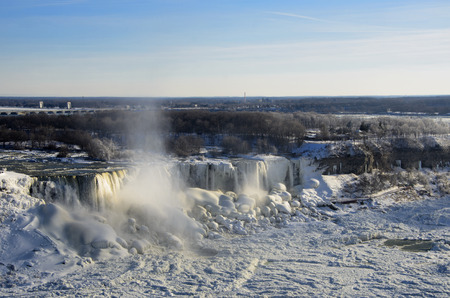 niagara falls city: Niagara Falls in Winter Stock Photo